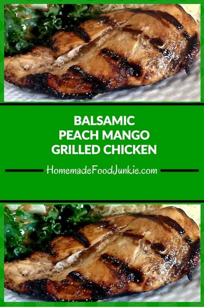 BALSAMIC PEACH MANGO GRILLED CHICKEN is juicy and delicious! This is the easiest low carb, grilled chicken dinner. Just the right balance of flavors to perk up your chicken and add a touch of piquant. #grilledchicken #grillrecipe #chickenrecipe