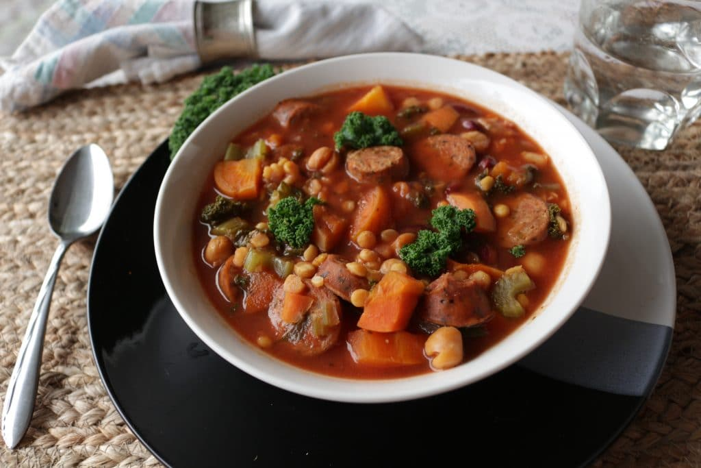 Lentil Sausage soup is so simple to make. Good, Nourishing soup your ...