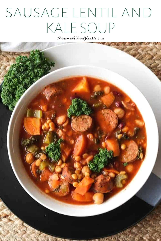 Sausage lentil and kale soup-pin image