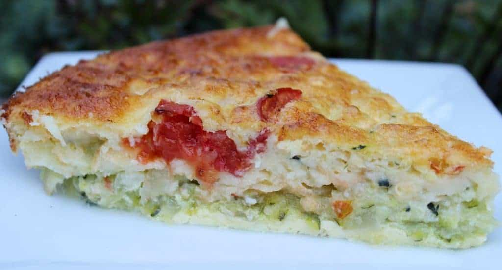 crustless Zucchini veggie quiche on a plate. Ready to eat.