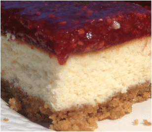 Raspberry Cheesecake Squares Single Serving With A Firmer Top.
