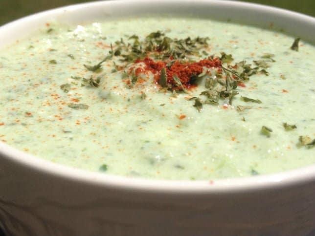Garnished Cold Cucumber Soup