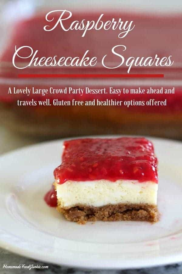 Raspberry Cheesecake Squares are a lovely creamy rich dessert. These delicious bars make great party food! #cheesecake #cheesecakerecipe #cheesecakesquares #cheesecakebars #raspberrydessert #raspberrycheesecake #partyfood #partydessert