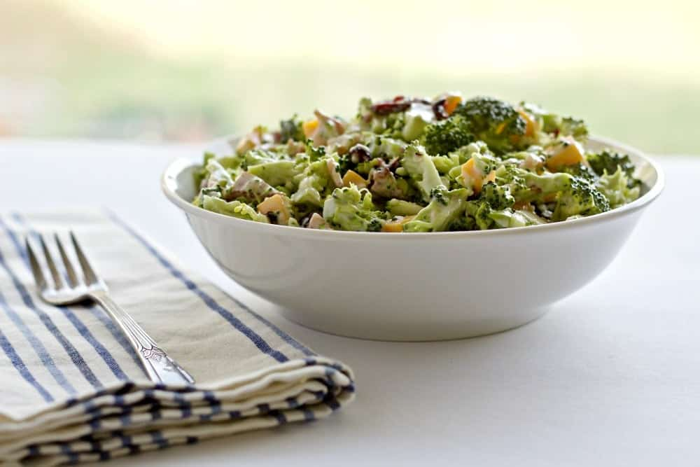 Bacon Cheddar Broccoli Salad is gluten free and low carb. A healthy, nutritious side dish the whole family will love. Party food, grill side or salad for lunch!