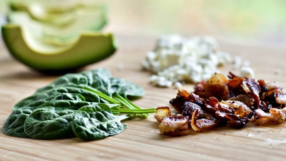 Ingredients for Spinach Avocado Bacon Salad