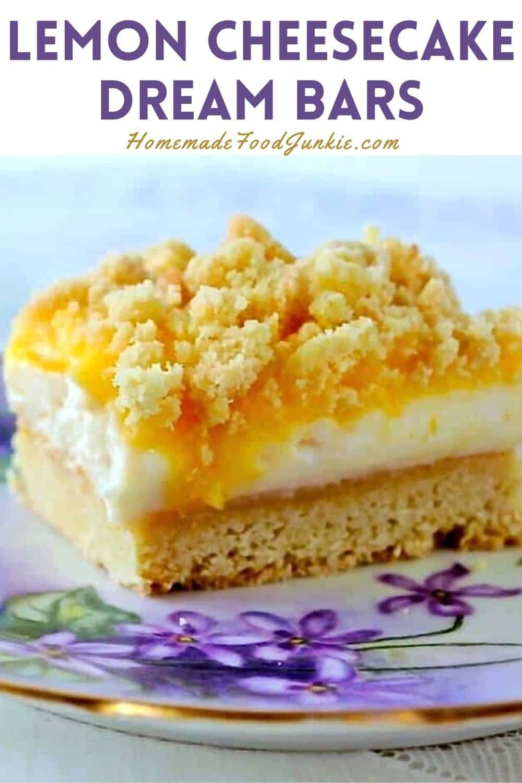 Lemon cheesecake dream bars-pin image