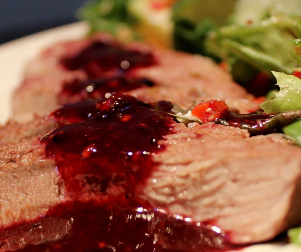 Blackberry Barbecue Sauce over pork roast