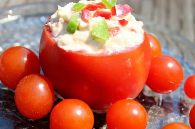 Tuna Tomato Cups with Chicken Spread Recipe http://homemadefoodjunkie.com