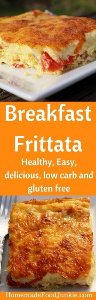 Breakfast Frittata. This delicious breakfast recipe is very easy, #lowcarb and #glutenfree. It's a crowd pleaser too! #breakfastrecipes #Healthyrecipe #healthybreakfast #Frittata