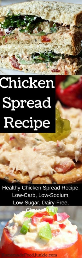 Healthy chicken spread recipe. Low-Carb, Low-Sodium, Low-Sugar, Dairy-Free, Gluten-Free! http://HomemadeFoodjJunkie.com