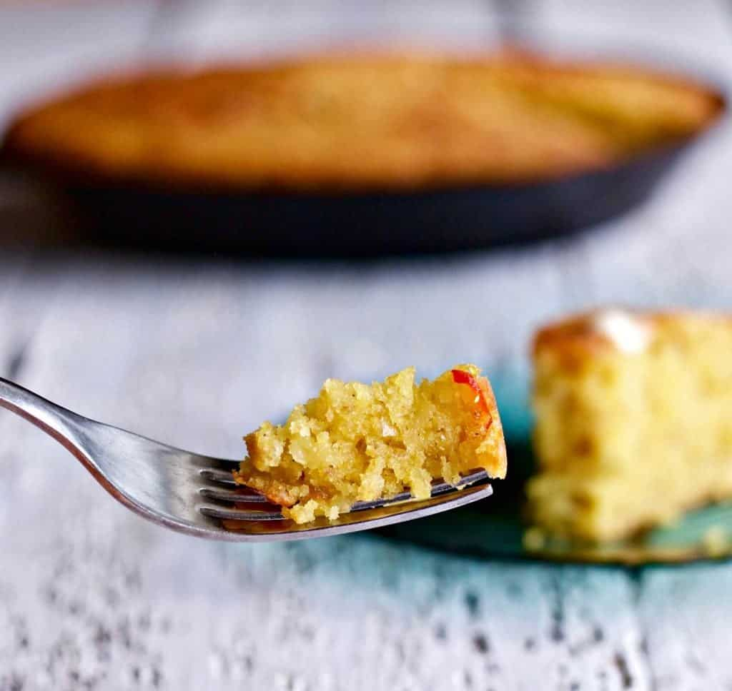Mexican Cornbread single bite on a fork