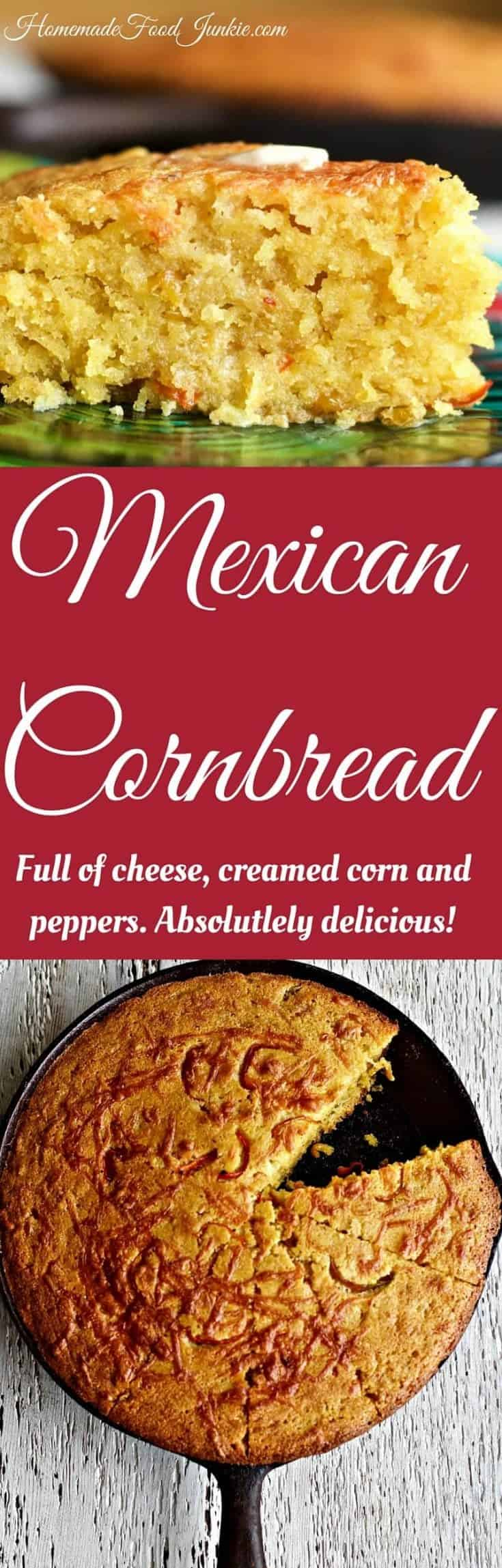 Mexican Cornbread is a moist, slightly sweet cornbread flavored with a tiny pepper kick to keep it interesting #cornbread #cornbread recipe#mexicancornbread #mexicancornbread recipe #mexicansides #sidedish #soupside #HomemadeFoodJunkie