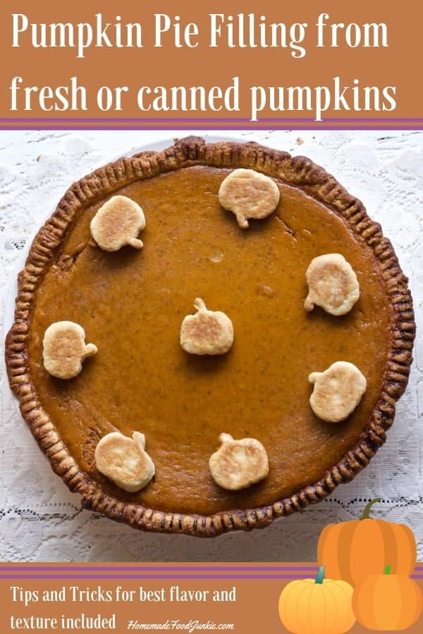 This lovely traditional pumpkin pie has a Rich, thick, custard pumpkin filling made from either fresh, frozen homemade roasted puree or canned pumpkin. Add dough toppers for fun.