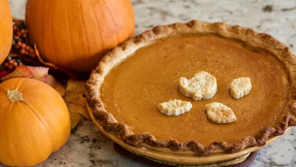 Pumpkin Pie With Fall Decor