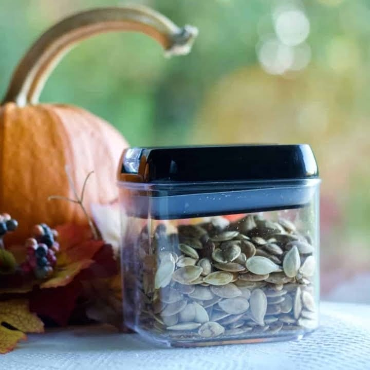 Roasted Pumpkin seeds in a clear airtight container. Sitting by a pumpkin.