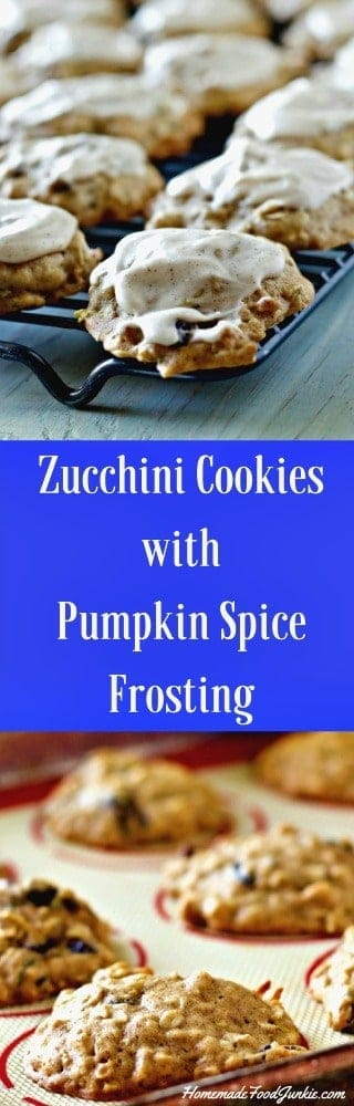 Zucchini Cookies-Pumpkin spice Frosting is a delicious way to use up harvest zucchini. The frosting adds so much yumminess. Great Party food!