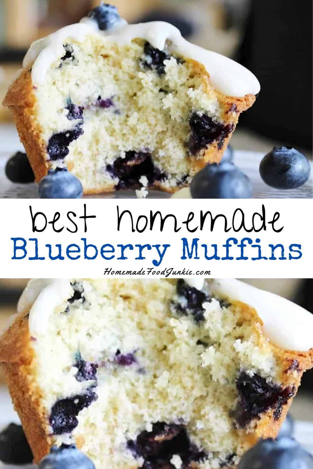 best homemade blueberry muffins-pin image