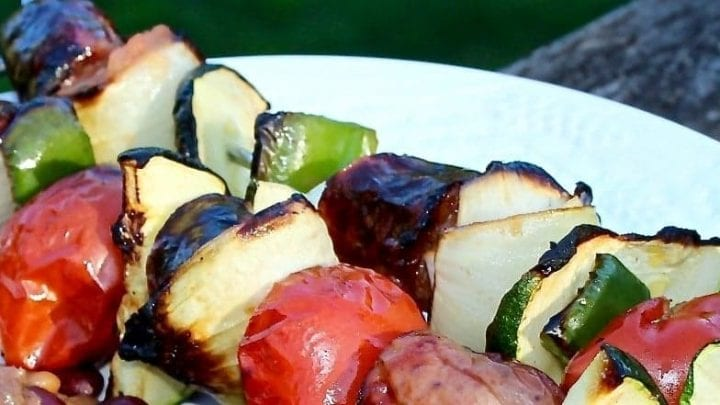 Grilled Sausage Tomato Zucchini Kabobs
