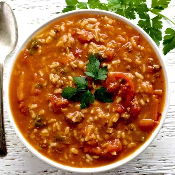 Crock Pot Pepper Soup With Rice and Orzo