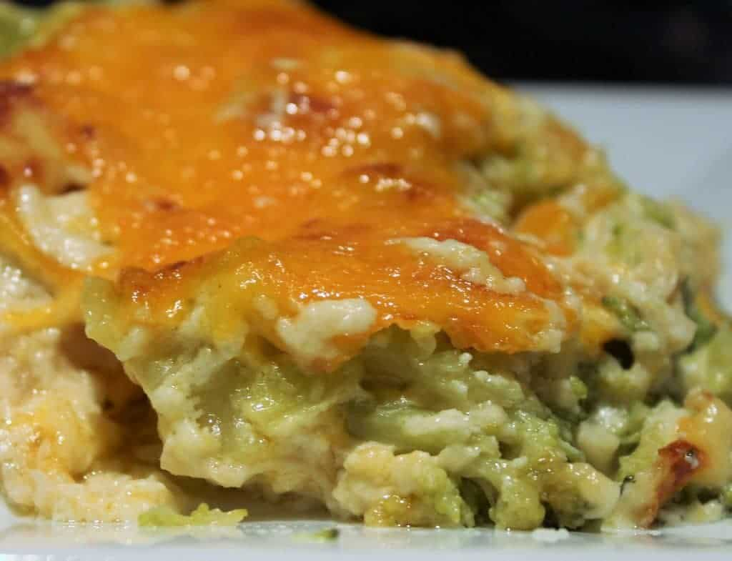 Chicken Mornay casserole layer. The broccoli layer is chown with the cheesy top.