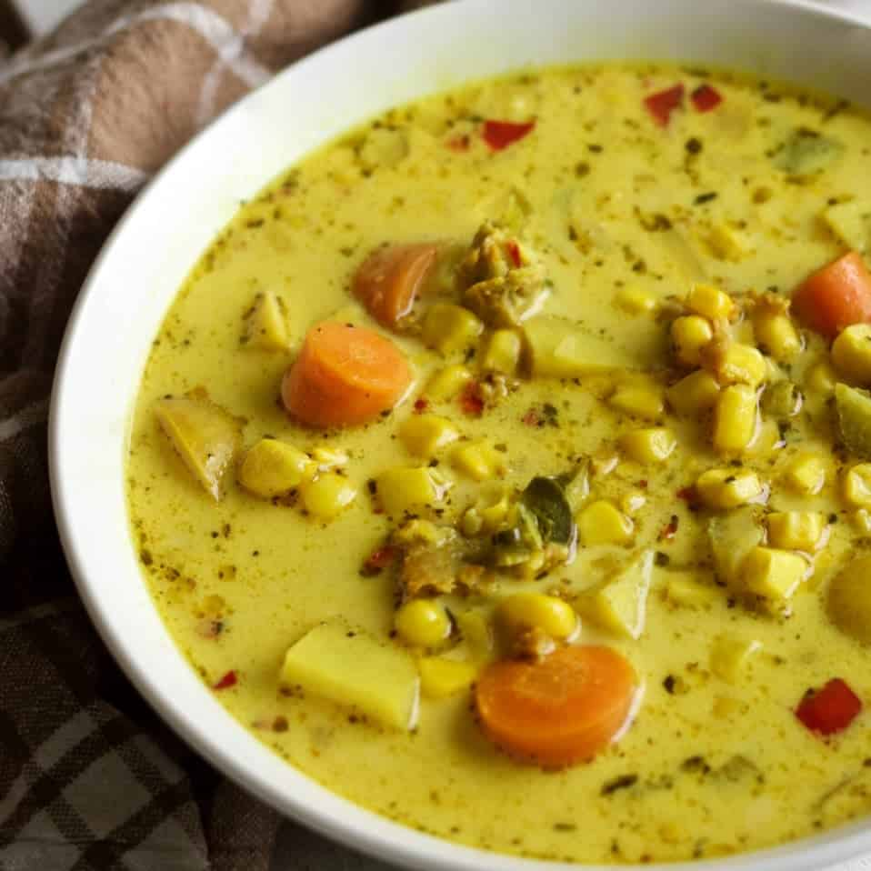 Corn N Sausage Chowder gluten free and nutritionally balanced
