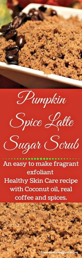 Pumpkin spice Latte Sugar Scrub Nothing spells fall like the ever popular Pumpkin Spice Latte from Starbucks! That yummy warm drink always makes me want to run out and buy pumpkin everything! So why not capture that yummy scent in a beautiful and gift worthy sugar scrub? This scrub has ground coffee in it that is also said to tighten skin and shrink fat cells thus reducing the appearance of cellulite! What a bonus! Not only does Pumpkin Spice Latte Sugar Scrub smell heavenly, it also moisturizes and can reduce the appearance of cellulite.