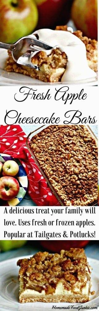 Fresh Apple Cheesecake Bars #cheesecake Fallrecipe #gameday #holidayrecipe