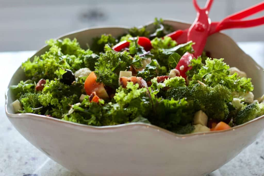 Kale Salad full of hearty add in to make it very filling and sustaining