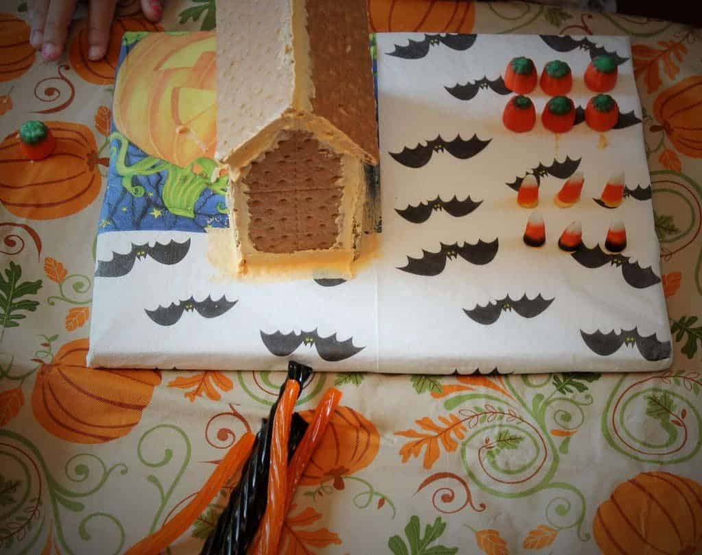 Graham cracker house with royal icing. Recipe for Royal icing included