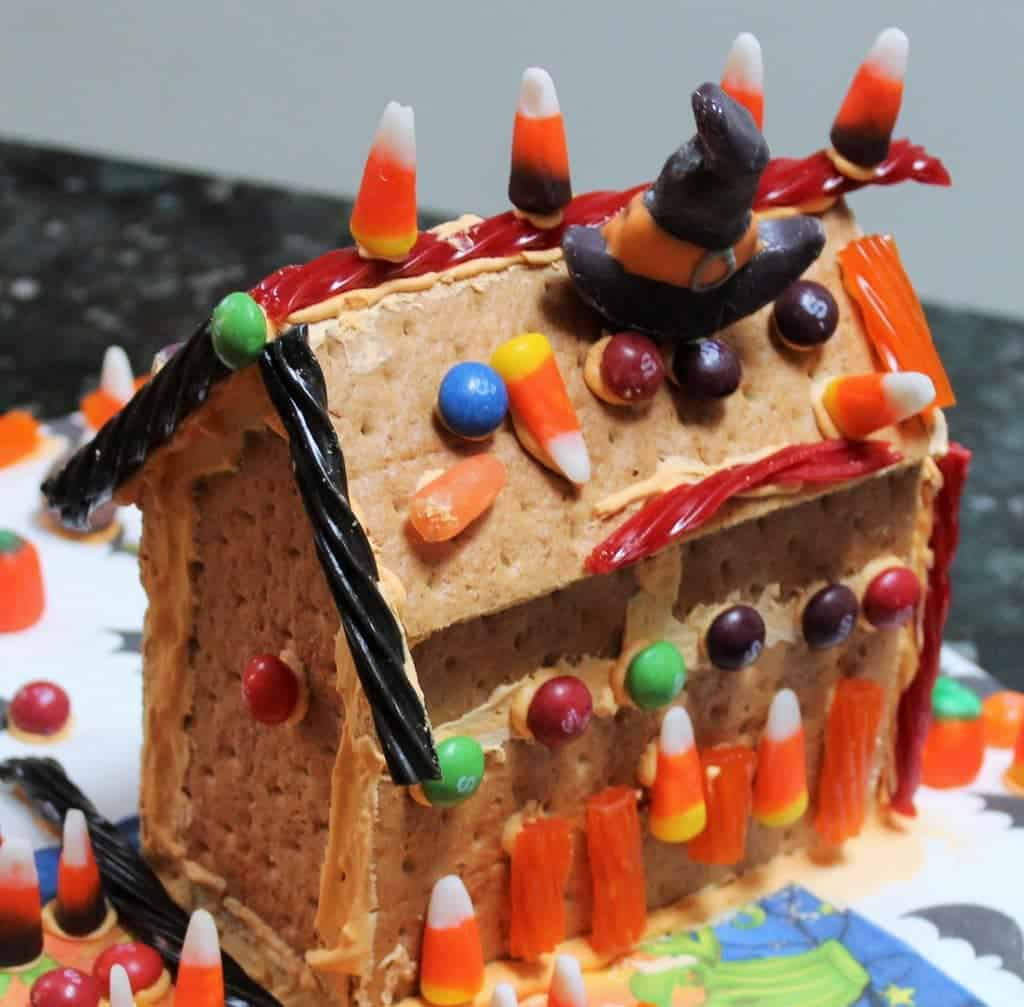DIY Graham Cracker Haunted House. Kids love this project. Royal Icing recipe included.
