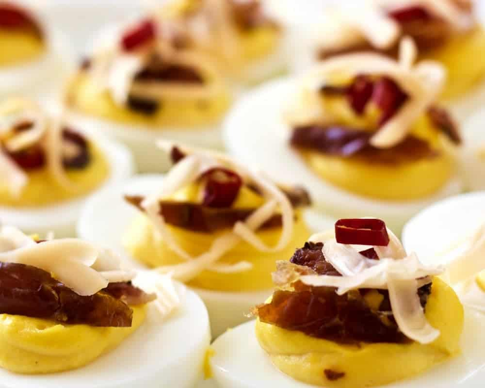 Deviled Eggs with Bacon,peppers and dates