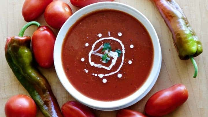 Roasted Pepper Tomato Soup with fresh peppers and tomatoes