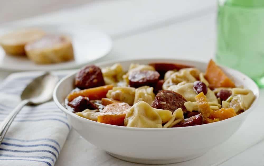Crock pot tortellini sausage soup