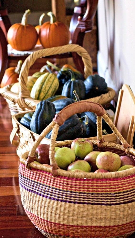 Baskets full of squash and apples