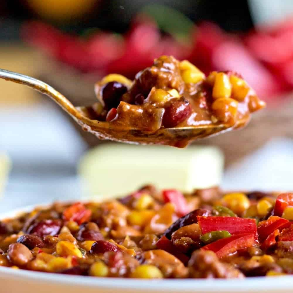 Game Day Chili Recipe. So easy to make this high fiber chili from mostly pantry items. This post includes instructions for either stove top or crock pot