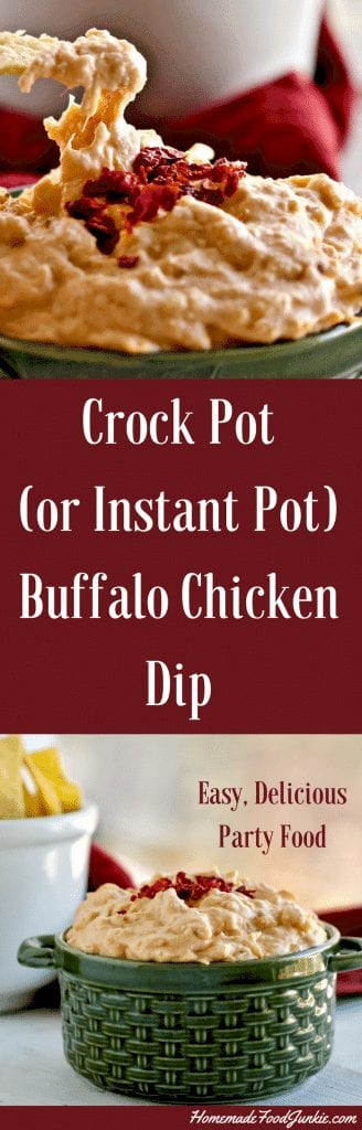 Crock Pot (Or Instant Pot) Buffalo Chicken Dip. So Simple To Make. A Well Loved Party Food, Nachos Or Burrito Sauce #Gamedayrecipe #Partyfood #Appetizerrecipe #Dip #Partydip #Crockpotpartydip #Instantpotrecipe #Instantpotpartydip #Buffalochickenrecipe #Buffalochickendip #Frankshotsauce #Easypartydip #Holidayrecipe