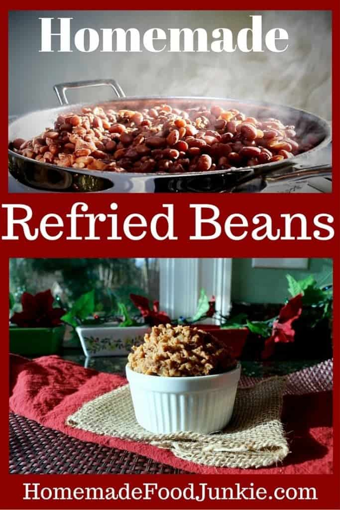 Refrying cooked pinto beans is a VERY frugal way to add delicious flavor to your Mexican meals. Add your own touches and use your Instant Pot to make this whole process a snap! Read more on HomemadeFoodJunkie.com! #refriedbeansrecipes #beanrecipes #mexicancooking #mexicancuisine #mexicanrecipes