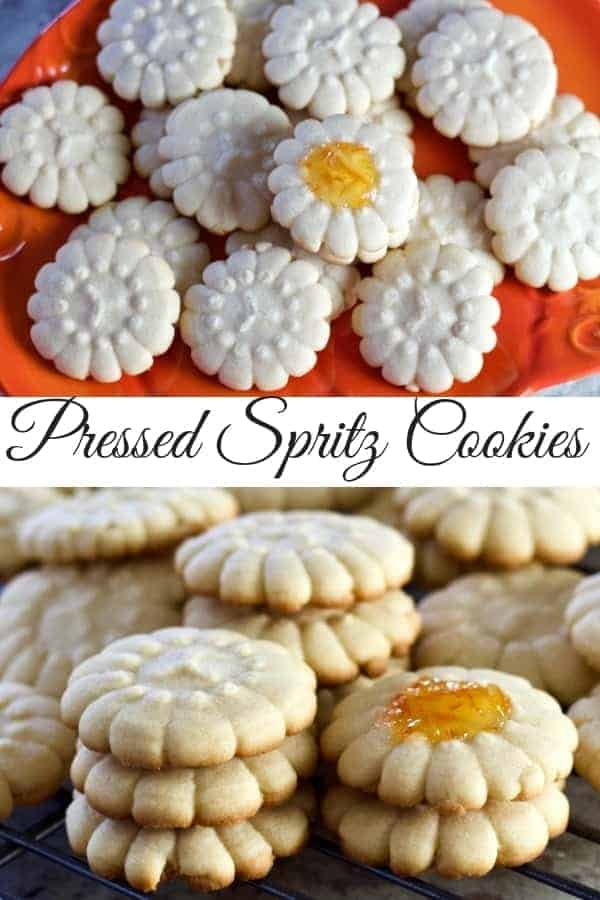 This Spritz Cookie recipe is simple to make and pressed cookies look great on a party tray. Enhance them with jams, sprinkles icing. #holidaycookies #recipe #cookie #shortbread #partytray #desserttable