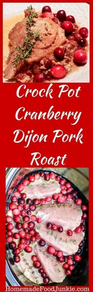 Crock Pot Cranberry Dijon Pork Roast is Healthy and delicious! Enjoy the beautiful blend of flavors in this gluten free, dairy free, nutritionally balanced meal. It takes about 15 minutes to assemble in your crock pot or instant pot.   Fill your home with the enticing, meaty aromas all day . This is an incredibly easy dinner. #crockpotrecipe #slowcookerrecipe #Easydinner #weeknightmeal #porkroastrecipe #winterecipe #Fallrecipe #Healthydinner