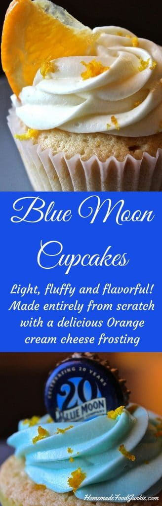 Blue Moon Cupcakes with Orange Cream Cheese Frosting. http://homemadefoodjunkie.com