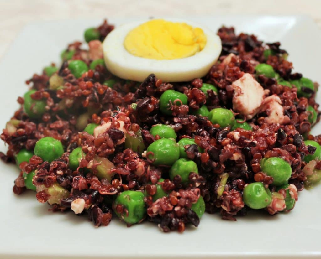 Black Rice, Quinoa, Pea salad