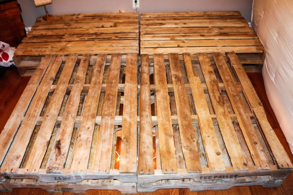 DIY Pallet Bed Attached Night Stands