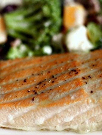 Easy baked salmon with a brown sugar marinade is a perfect choice for a delicious, low carb, dairy -free, gluten-free meal choice. Chock full of good for you lean protein and healthy fat with a yummy marinade!