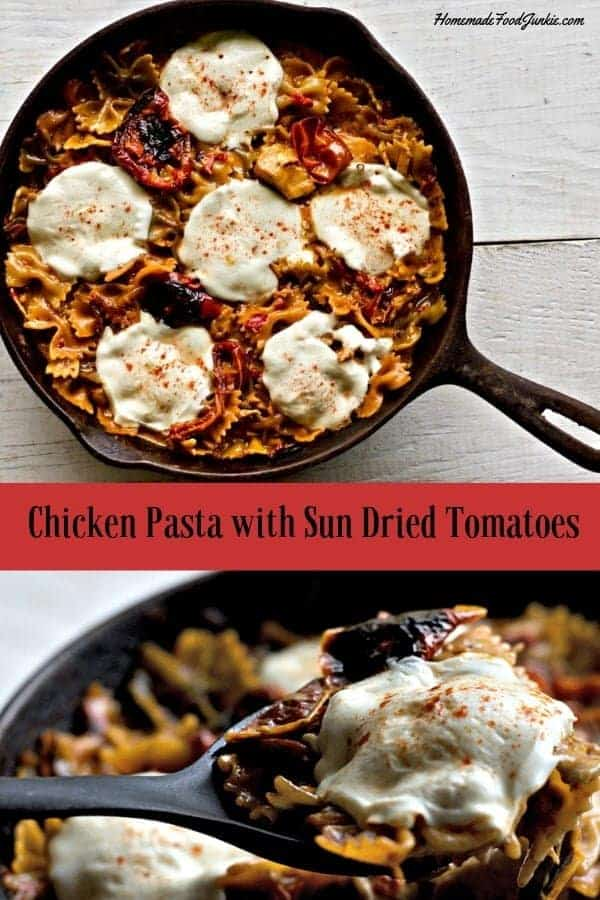Delicious Chicken Pasta with Sun-Dried Tomatoes cooked over the stove top in a delicious and creamy flavorful sauce. This easy chicken dinner is made in one skillet. This chicken dinner is perfect for a busy weeknight dinner. Your family will love it! #chickendinner #skilletdinner #chickenskilletdinner #easyskilletdinner #chickenpastadinner #easydinner