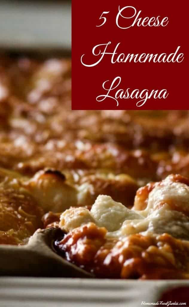 5 Cheese Homemade lasagna This is a delicious, filling, low carb, meal, oozing with noodles, a rich meaty sauce, and five different kinds of cheese.