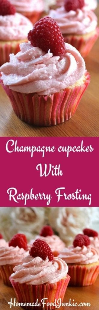 Champagne cupcakes With Raspberry Frosting