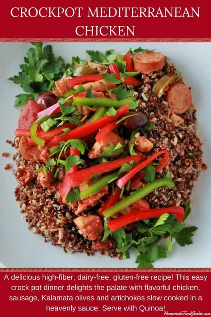 CrockPot mediterranean Chicken high fiber, dairy free, gluten free crockpot meal! http://HomemadeFoodjunkie.com