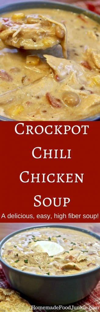 Crockpot Chili Chicken Soup A delicious, easy, high fiber soup. NOW WITH INSTANT POT INSTRUCTIONS! Http://homemadeFoodJunkie.com