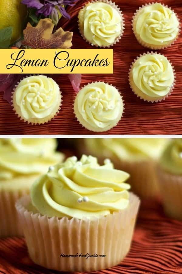 Lemon Cupcakes are Scrumptious light as a feather lemon cupcakes from scratch. and topped with lemon buttercream. These Lively Lemon Cupcakes burst with flavor. They are Perfect for Spring and any time of year! #cupcakes #cupcakerecipe #lemoncupcakes #dessert #partyood #lemondesserts #cupcakeheaven #homemadefoodjunkie