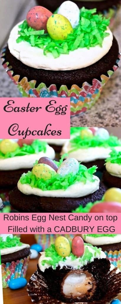 Adorable easter egg cupcakes that are sure to be a hit at your next party! These cupcakes feature a chocolate cupcake with a vanilla buttercream frosting. Filled with a Cadbury Egg Http://HomemadeFoodJunkie.com!